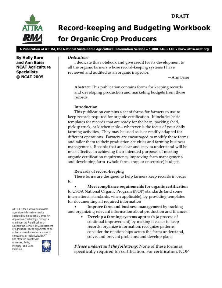 Record-keeping and Budgeting Workbook for Organic Crop Producers (draft version)