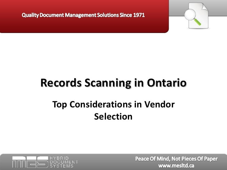 Records Scanning in Ontario - MES Hybrid
