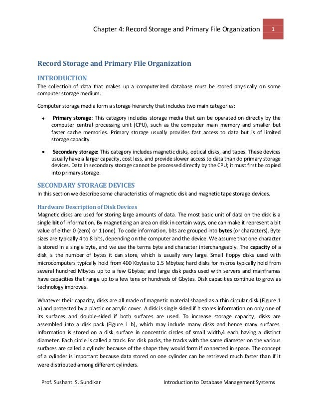 Record storage and primary file organization