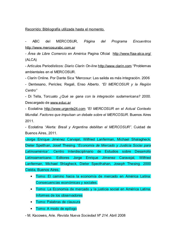 Recorrido: Bibliografía utilizada hasta el momento.-       ABC   del    MERCOSUR,          Página     del     Programa    ...
