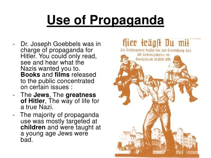 Use of Propaganda- Dr. Joseph Goebbels was in  charge of propaganda for  Hitler. You could only read,  see and hear what t...