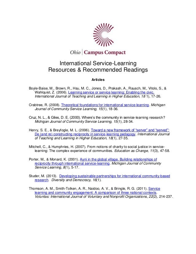 International Service-Learning Resources & Recommended Readings