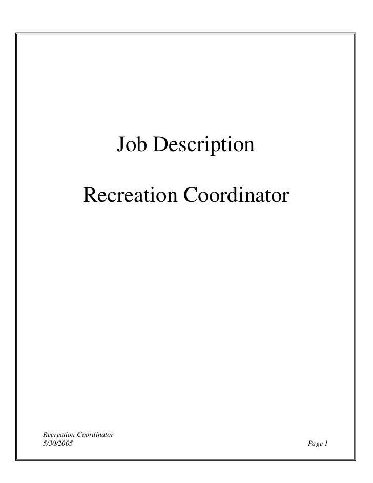 Recreation coordinator  jd