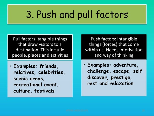 pull and push factors of tourism A cultural perspective on motivation factors perspective on motivation factors affecting exhibition supported the categorization of push/pull factors.