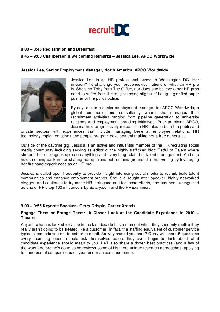 8:00 – 8:45 Registration and Breakfast 8:45 – 9:00 Chairperson's Welcoming Remarks – Jessica Lee, APCO Worldwide   Jessica...