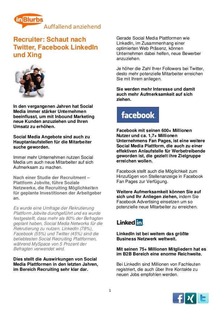 Auffallendanziehend         Recruiter: Schaut nach                               Gerade Social Media Pla...