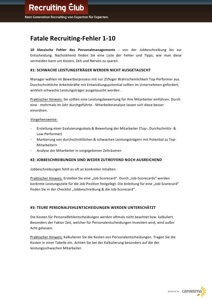 Fatale Recruiting-Fehler 1-10 10 klassische Fehler des Personalmanagements - von der Jobbeschreibung bis zur Entscheidung....