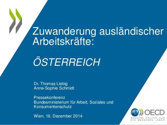 Zuwanderung ausländischer  Arbeitskräfte:  ÖSTERREICH  Dr. Thomas Liebig  Anne-Sophie Schmidt  Pressekonferenz  Bundesmini...