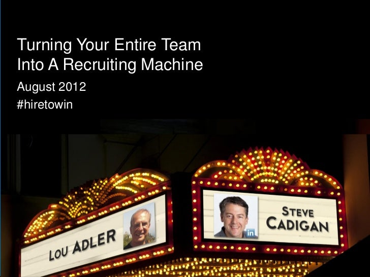 Turning Your Entire TeamInto A Recruiting MachineAugust 2012#hiretowin