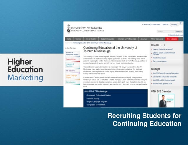 Recruiting Students for Continuing Education Slide 1 Recruiting Students for Continuing Education