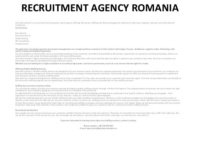 RECRUITMENT AGENCY ROMANIA Activ Recruitment is a recruitment and executive search agency offering full-service staffing a...