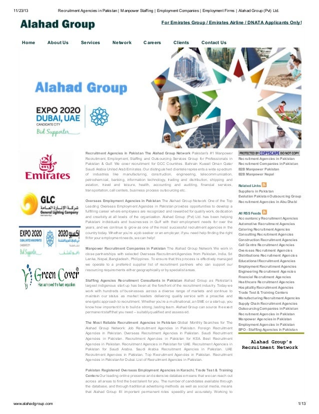 11/23/13  Recruitment Agencies in Pakistan   Manpower Staffing   Employment Companies   Employment Firms   Alahad Group (P...