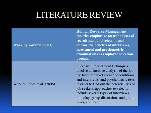 Literature review recruiment methods