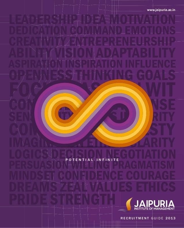 www.jaipuria.ac.in R E C R U I T M E N T G U I D E 2 01 3 CREATIVITY ENTREPRENEURSHIP ABILITY VISION ADAPTABILITY ASPIRATI...