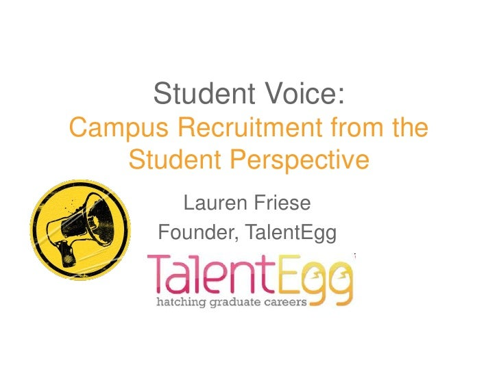 Student Voice:Campus Recruitment from the   Student Perspective        Lauren Friese      Founder, TalentEgg