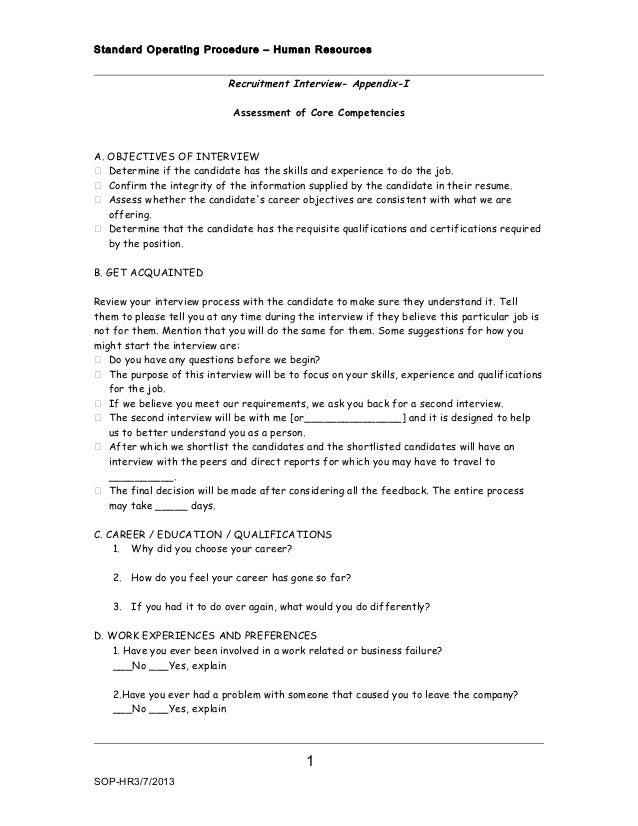 Standard Operating Procedure – Human Resources                            Recruitment Interview- Appendix-I               ...
