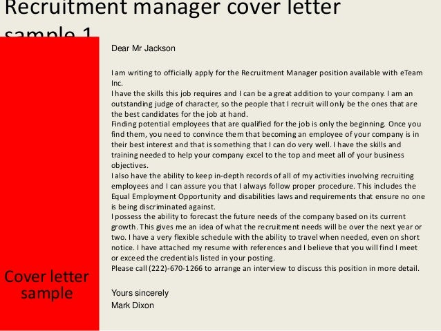 Recruiting manager cover letter samples