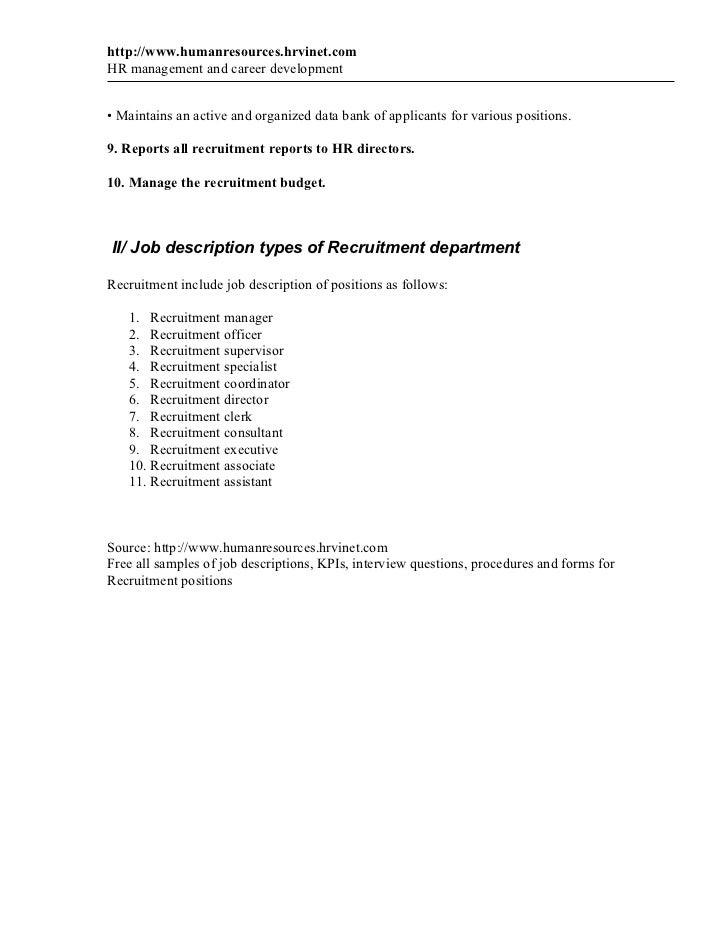 recruitment manager description 1