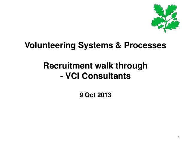 Volunteering Systems & Processes Recruitment walk through - VCI Consultants 9 Oct 2013  1