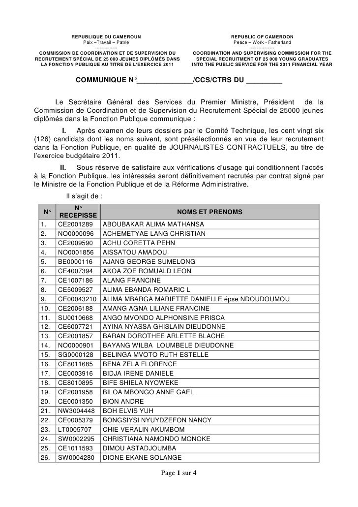 REPUBLIQUE DU CAMEROUN                                 REPUBLIC OF CAMEROON                Paix –Travail – Patrie         ...