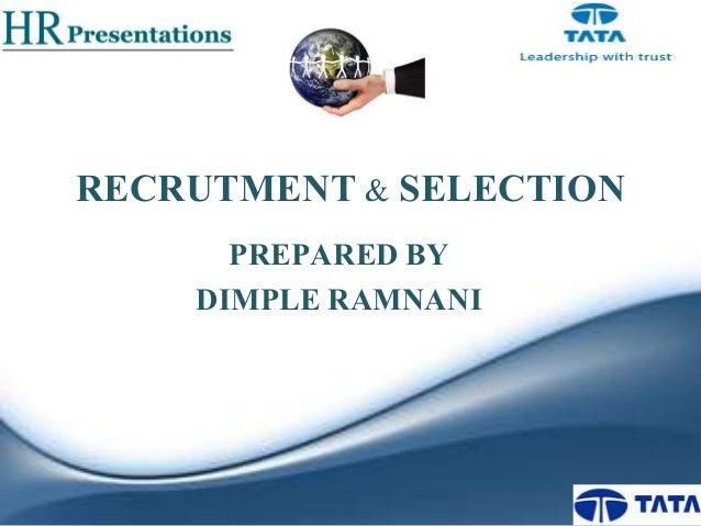 Recrutment selection hr presentation for Tata motors recruitment process