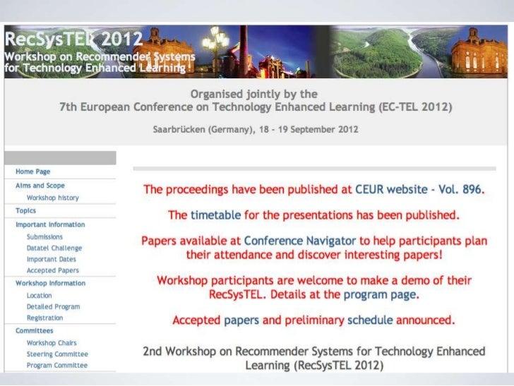 Introduction RecSysTEL workshop 2012