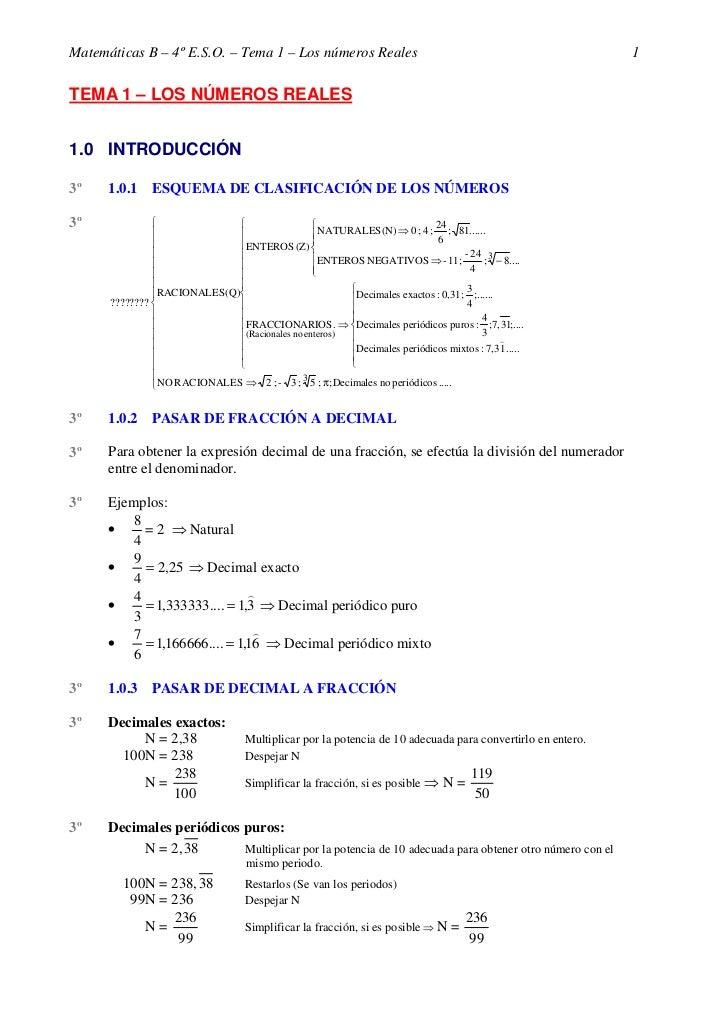Matemáticas B – 4º E.S.O. – Tema 1 – Los números Reales                                                      1  TEMA 1 – L...