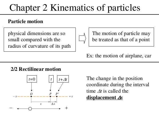 Chapter 2 Kinematics of particles Particle motion physical dimensions are so small compared with the radius of curvature o...