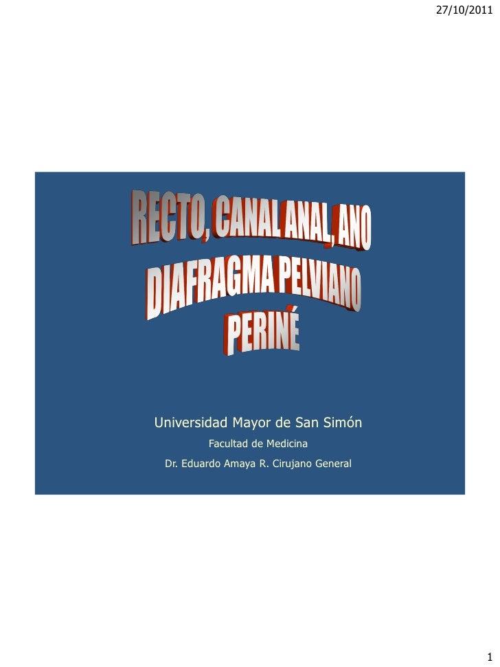 Universidad Mayor de San Simón         Facultad de Medicina Dr. Eduardo Amaya R. Cirujano General