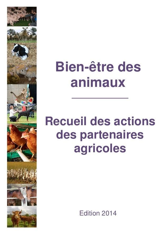Bien-être des animaux  Recueil des actions des partenaires agricoles  Edition 2014