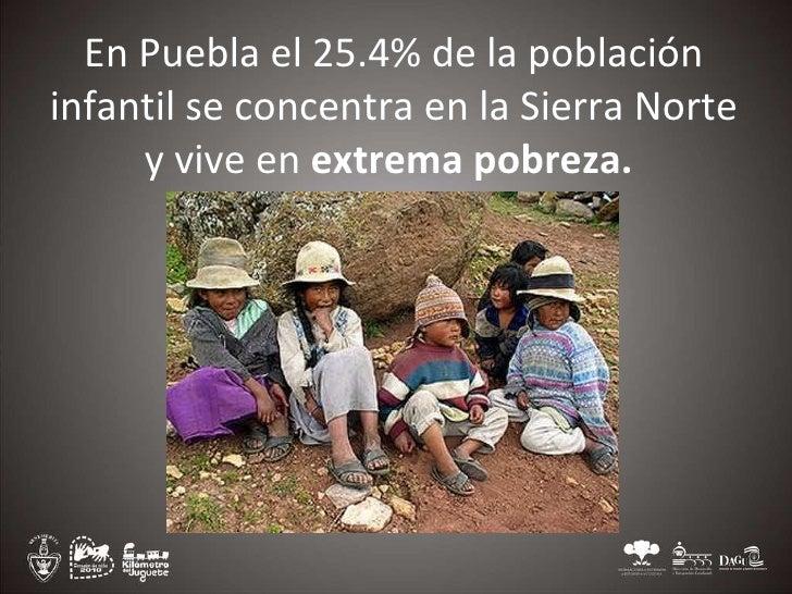 En Puebla el 25.4% de la población infantil se concentra en la Sierra Norte y vive en extrema pobreza.