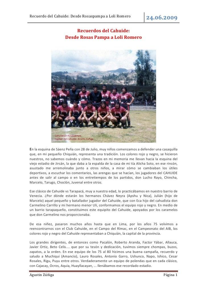 Recuerdo del Cahuide: Desde Rosaspampa a Loli Romero                             .     .                           Recuerd...