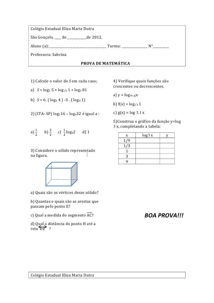 Colégio Estadual Eliza Maria DutraSão Gonçalo, ____ de ____________de 2012.Aluno (a):____________________________________ ...