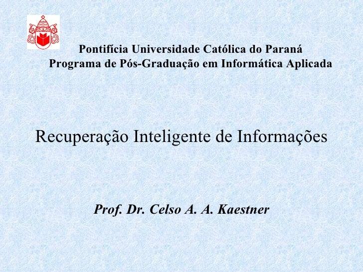 Recuperação Inteligente de Informações Prof. Dr. Celso A. A. Kaestner Pontifícia Universidade Católica do Paraná Programa ...