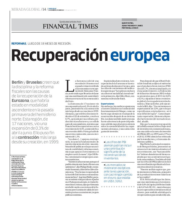 Recuperación europea luego de 18 meses de recesión