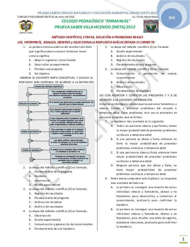 PRUEBA SABER CIENCIAS NATURALES Y EDUCACIÓN AMBIENTAL GRADO SEXTO 2012  CIENCIAS Y FISICA GRADO SEXTO-16 de enero del 2012...