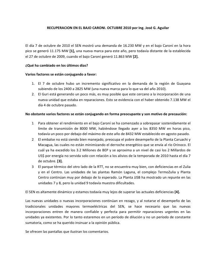 RECUPERACIONENELBAJOCARONI.OCTUBRE2010porIng.JoséG.Aguilar                                                    ...