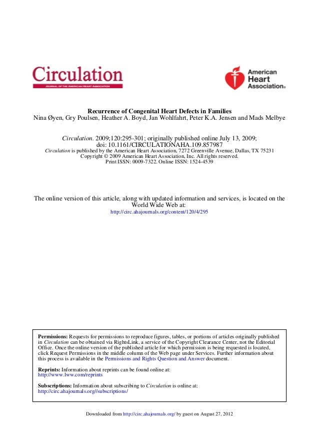 Recurrence of congenital heart defects in families