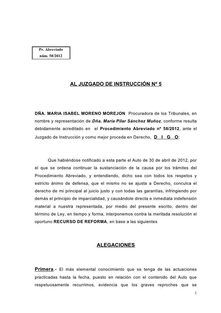 Recurso Pilar Sánchez al auto PTA