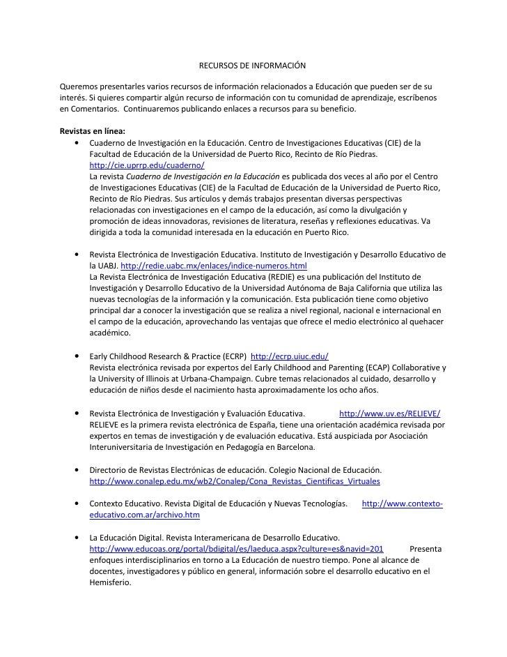 Recursos de Información EducacióN