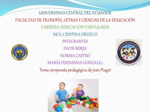 UNIVERSIDAD CENTRAL DEL ECUADOR FACULTAD DE FILOSOFÍA, LETRAS Y CIENCIAS DE LA EDUCACIÓN CARRERA: EDUCACIÓN PARVULARIA MCS...