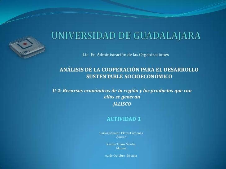 Lic. En Administración de las Organizaciones   ANÁLISIS DE LA COOPERACIÓN PARA EL DESARROLLO            SUSTENTABLE SOCIOE...