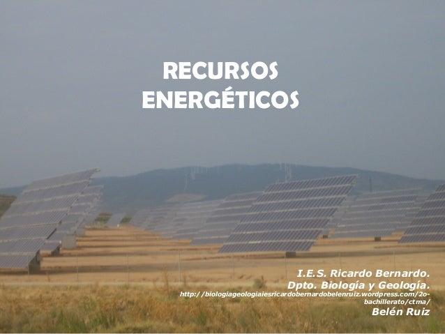 RECURSOS RECURSOS NATURALES  ENERGÉTICOS  I.E.S. Ricardo Bernardo. Dpto. Biología y Geología.  http://biologiageologiaiesr...