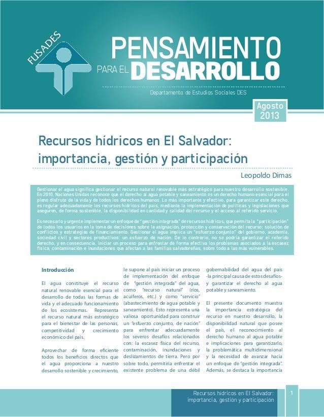 Recursos hídricos en El Salvador: importancia, gestión y participación