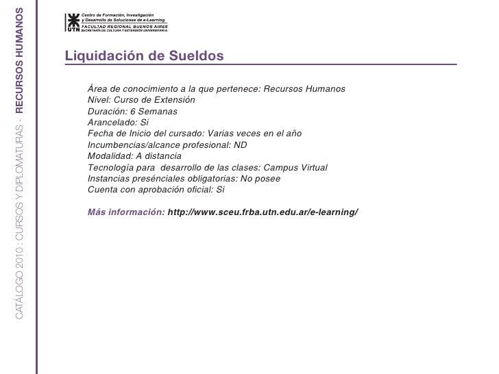 CATÁLOGO 2010 : CURSOS Y DIPLOMATURAS - RECURSOS HUMANOS                                                              Liqu...