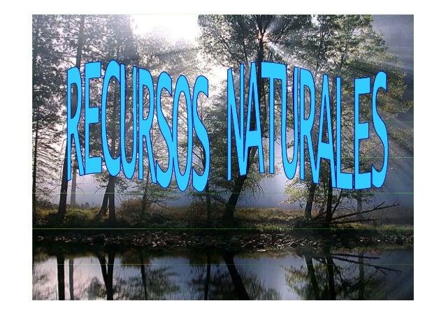 ¿QUÉ SON LOS RECURSOS¿QUÉ SON LOS RECURSOS NATURALES?NATURALES? Son todos los componentes de la naturalezala naturaleza qu...