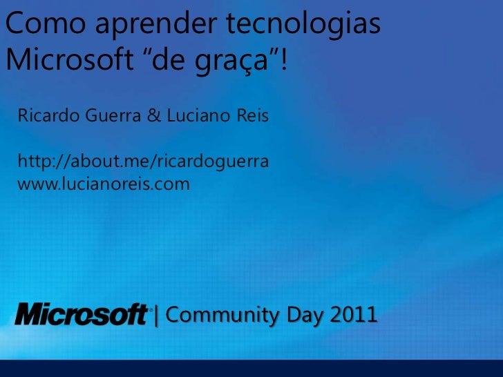 Recursos para estudar tecnologias Microsoft de graça