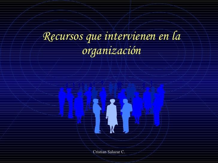 Recursos que intervienen en la organización
