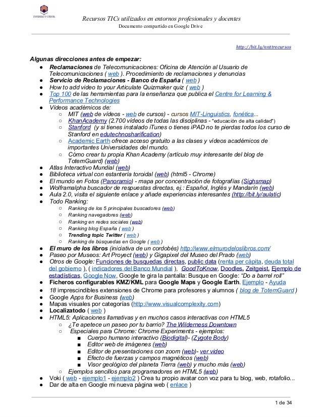 RecursosTICsutilizadosenentornosprofesionalesydocentes DocumentocompartidoenGoogleDrive htt...