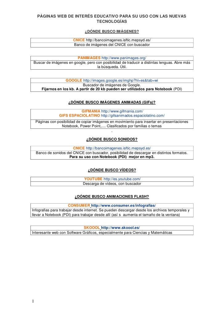 PÁGINAS WEB DE INTERÉS EDUCATIVO PARA SU USO CON LAS NUEVAS                              TECNOLOGÍAS                      ...